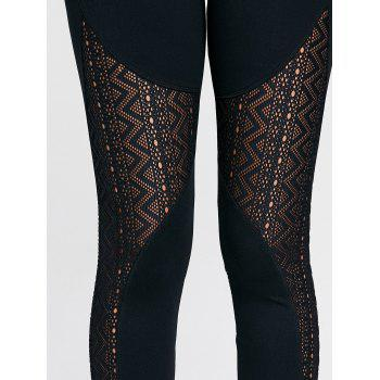 Zigzag Sheer Mesh Workout Tights - L L