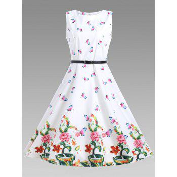 Sleeveless Floral A Line Vintage Dress - WHITE 2XL