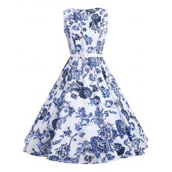 Floral Sleeveless Vintage A Line Dress - FLORAL L