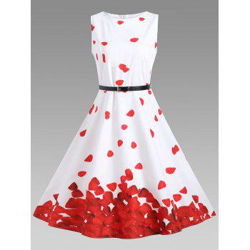 Vintage A Line Printed Dress - RED WITH WHITE S