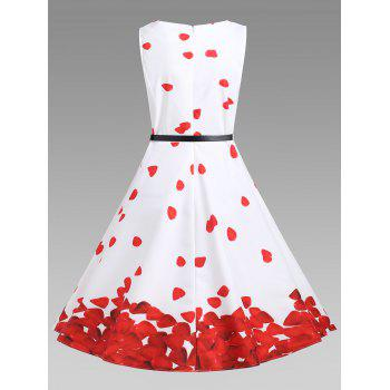 Vintage A Line Printed Dress - RED/WHITE RED/WHITE