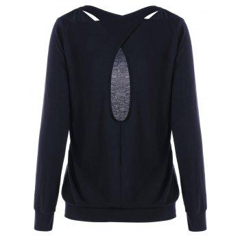 Criss Cross Cutout Sweatshirt - BLACK L