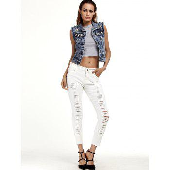 Ripped Cigarette Cropped Pants - M M