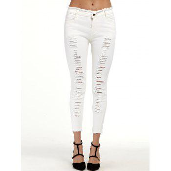 Ripped Cigarette Cropped Pants - WHITE M