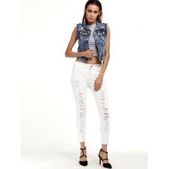 Ripped Cigarette Cropped Pants - S S
