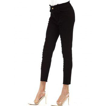 Ripped Cigarette Cropped Pants - L L