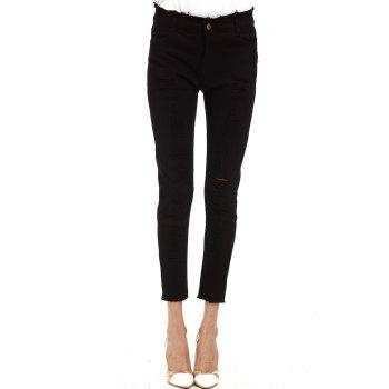 Ripped Cigarette Cropped Pants - BLACK L