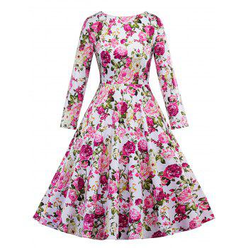 Floral Vintage Fit and Flare Dress - FLORAL XL
