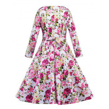 Floral Vintage Fit and Flare Dress - FLORAL 2XL