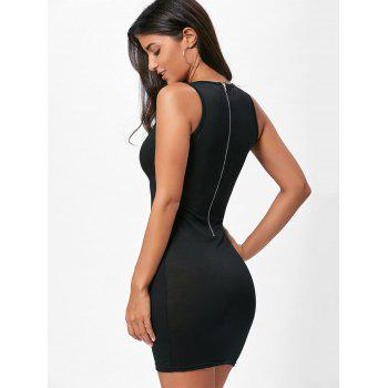 Back Zip Plunge Lace Up Bodycon Dress - BLACK XL