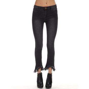 Frayed Trim Flare Jeans - BLACK BLACK
