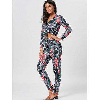 Floral Print Cropped Top and Pencil Pants - S S