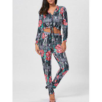 Floral Print Cropped Top and Pencil Pants - COLORMIX L