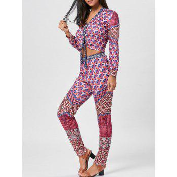Geometric Print Bowknot Top and Pants - COLORMIX XL