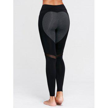 Heart Pattern Mesh Workout Leggings - BLACK S