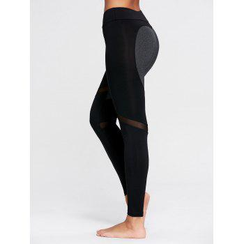 Heart Pattern Mesh Workout Leggings - S S
