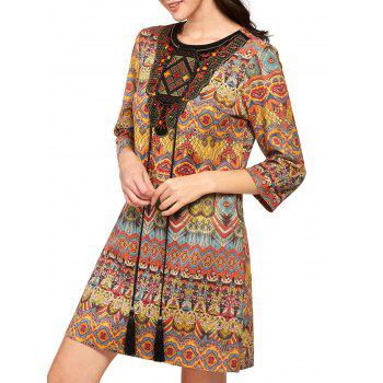 Print Mini Tassel Drawstring Behemian Dress - COLORMIX COLORMIX