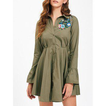 Embroidery Flare Sleeve Button Up Shirt Dress - XL XL