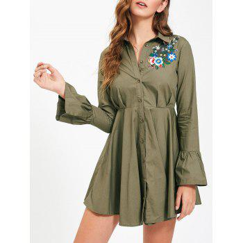 Embroidery Flare Sleeve Button Up Shirt Dress - ARMY GREEN M