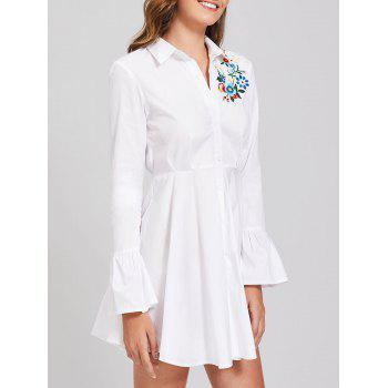 Embroidery Flare Sleeve Button Up Shirt Dress - M M