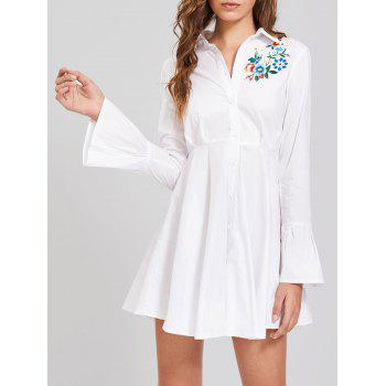 Embroidery Flare Sleeve Button Up Shirt Dress - WHITE L