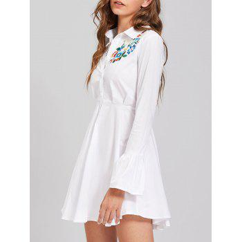 Embroidery Flare Sleeve Button Up Shirt Dress - L L