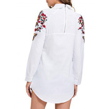 Mini Embroidery Long Sleeve Shirt Dress - L L