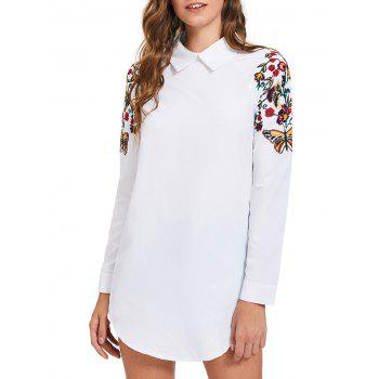 Mini Embroidery Long Sleeve Shirt Dress - WHITE L
