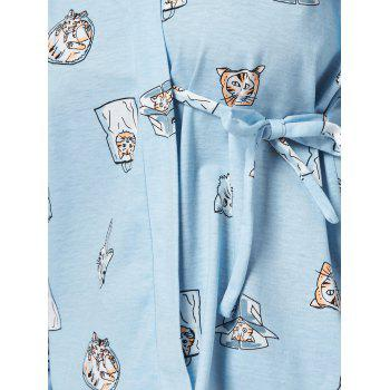 Cat Print Cotton Wrap PJ Set - M M