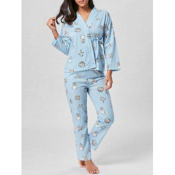 Cat Print Cotton Wrap PJ Set