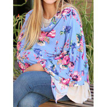Multifunctional Asymmetric Floral Nursing Poncho