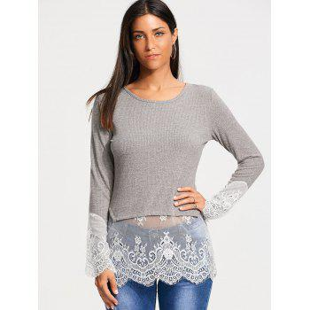 Lace Trim Casual Knit Top - S S