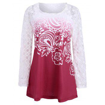 Lace Long Sleeve Ombre Print Top