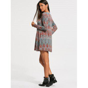Long Sleeve Tribal Rhombue Print Tunic Dress - S S