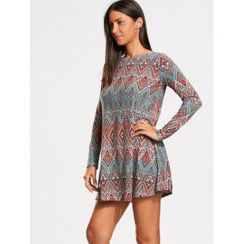 Long Sleeve Tribal Rhombue Print Tunic Dress - COLORMIX XL