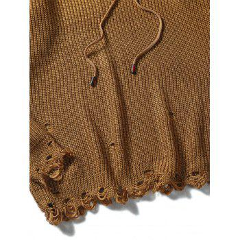 Drawstring Hooded Knitted Ripped Sweater - COFFEE COFFEE