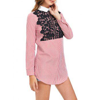 Striped Long Sleeve Lace Trim Shirt Dress - STRIPE STRIPE