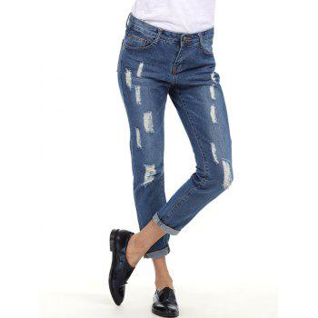Ripped Cuffed Boyfriend Jeans - BLUE XL