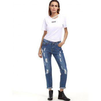 Ripped Cuffed Boyfriend Jeans - XL XL