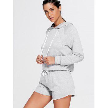 Sports Hoodie and  Drawstring Shorts - GRAY M