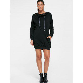 Batwing Sleeve Hooded Mini Dress - M M