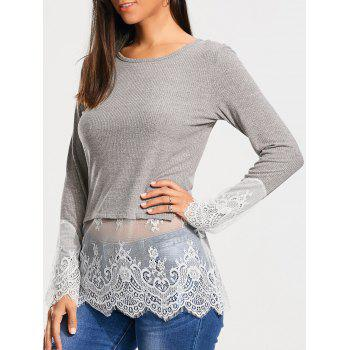 Lace Trim Casual Knit Top - GRAY S