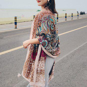 Tassels Ethnic Flowers Printed Bohemian Shawl Scarf -  LIGHT BROWN