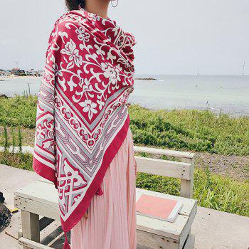 Floral Anthemy Pattern Retro Ethnic Shawl Scarf -  RED