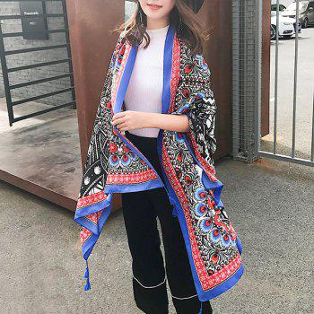 Flowers Printed Cotton Blending Ethnic Shawl Scarf -  BLUE
