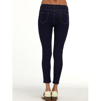 Ripped Ankle Cigarette Jeans - PURPLISH BLUE PURPLISH BLUE