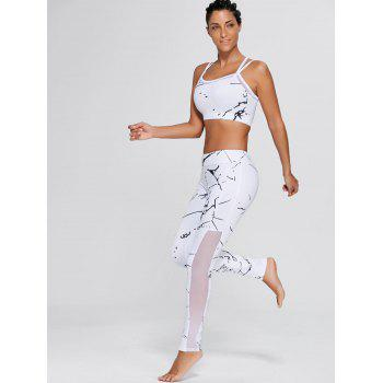 Sports Straps Bra and Mesh Panel Leggings - WHITE M