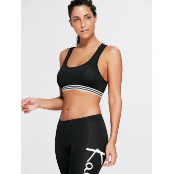 Stripe Trim U Neck Padded Sports Bra - BLACK BLACK