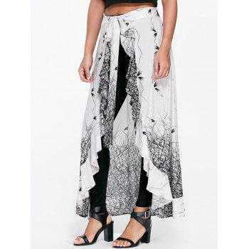 Monochrome Ruffle Skirt Pants - WHITE AND BLACK L