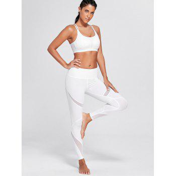 High Rise Mesh Panel Workout Leggings - WHITE S